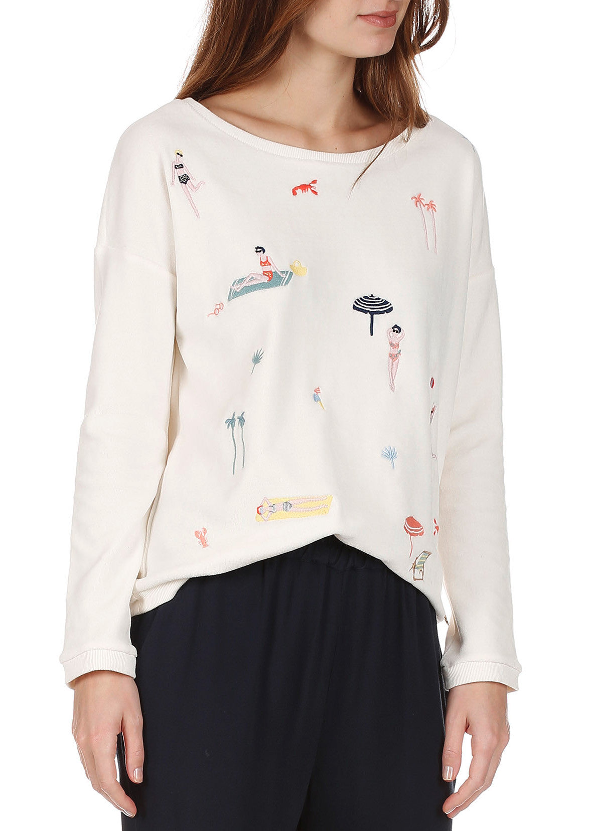 Des Petits Hauts ivonne terry graphic sweater cream