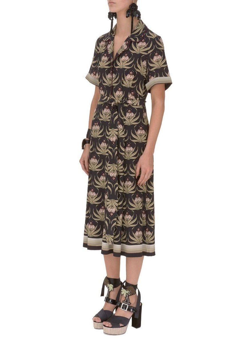 Markus Lupfer desert flower silk bobbie dress in black