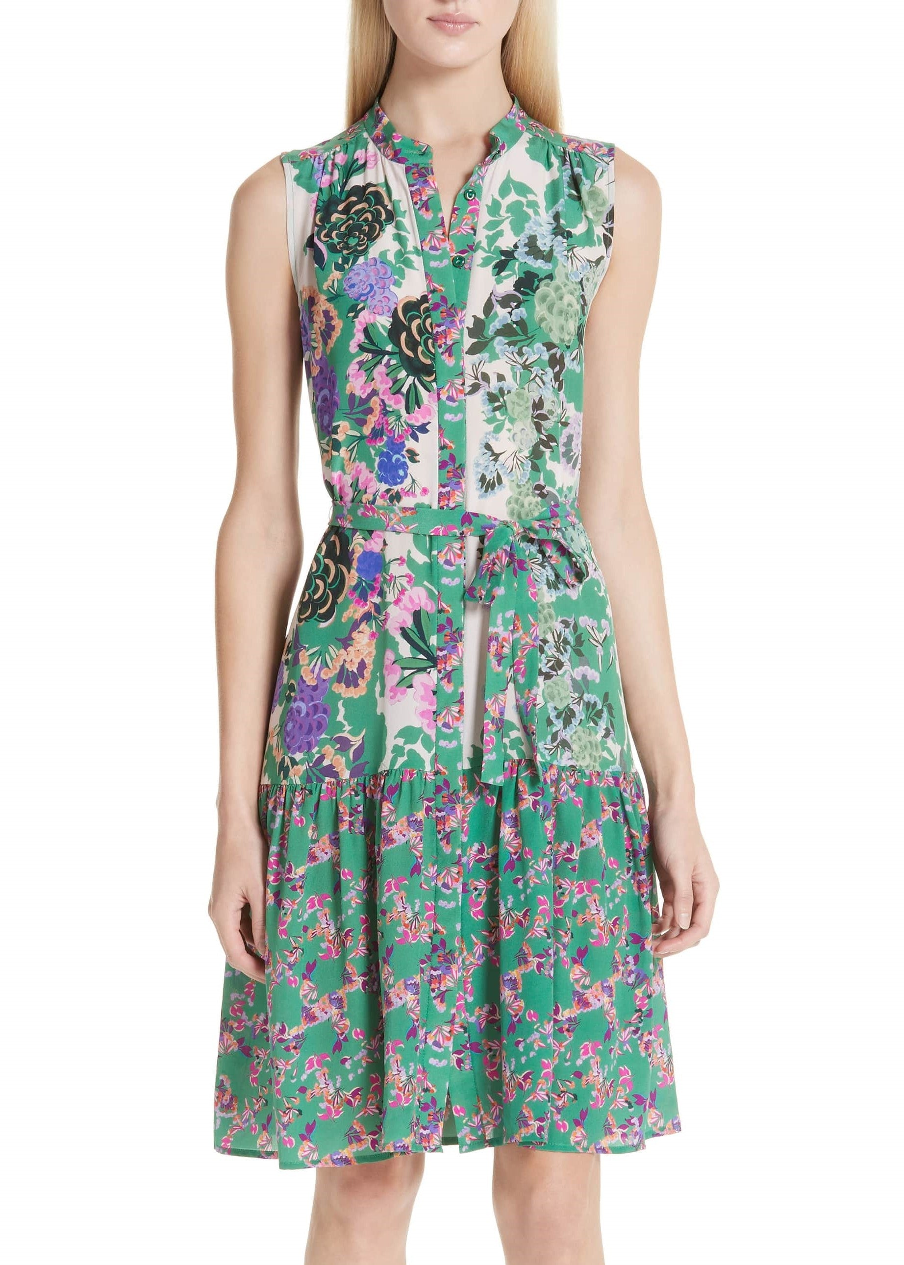 Saloni Tilly-B dress in rose meadow placement print