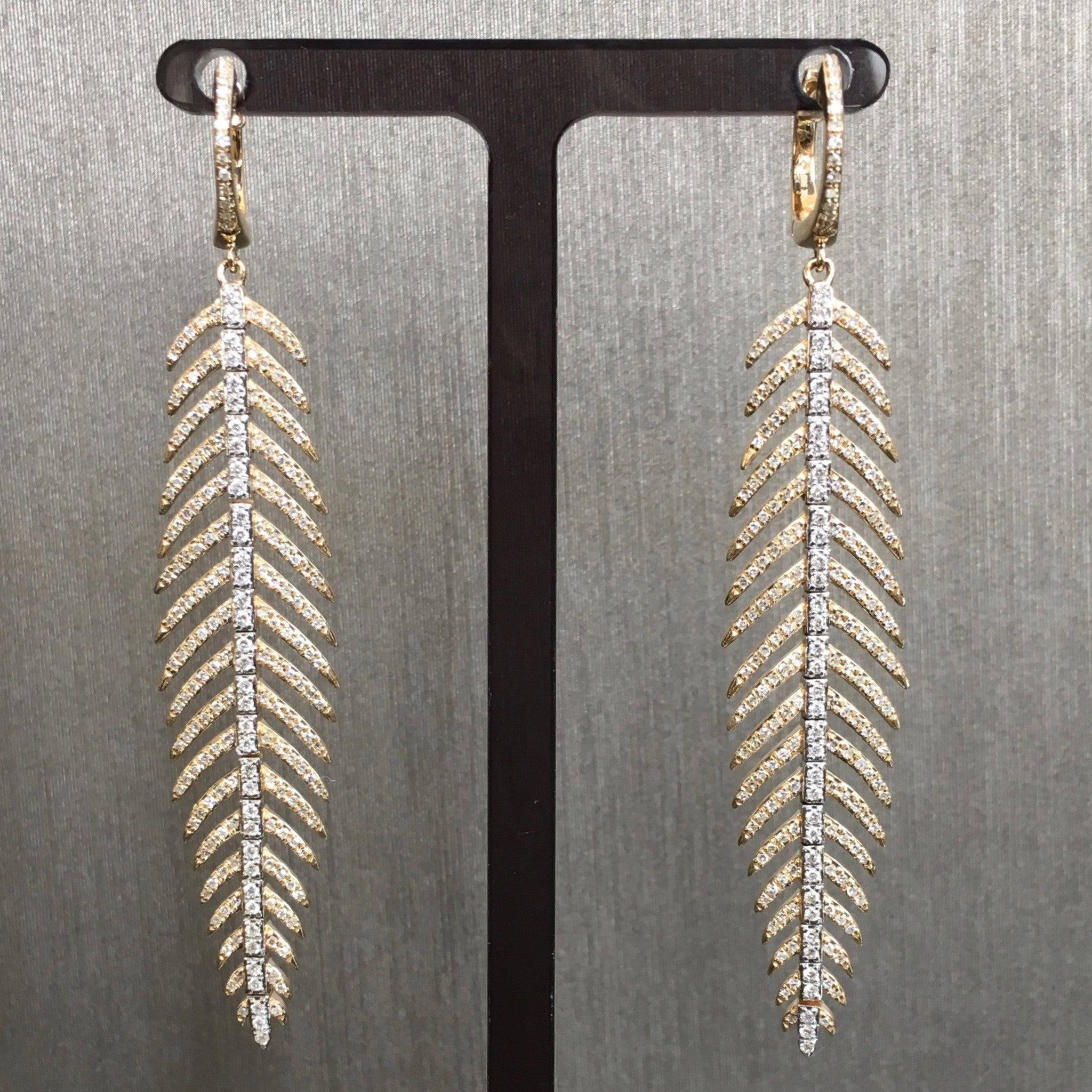 Rocks with Soul Pave Diamond Feather Drop Earrings Yellow Gold