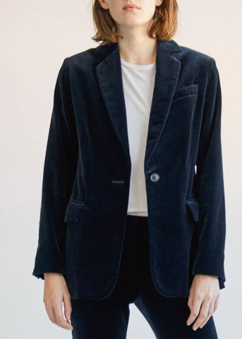 Nili Lotan Elijah velvet jacket in dark navy