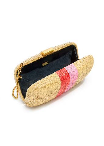 Kayu Florence clutch in natural with red/pink stripes