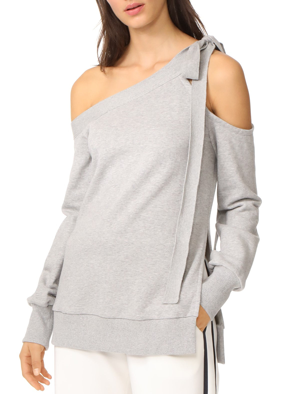 Goen.J open shoulder sweatshirt grey