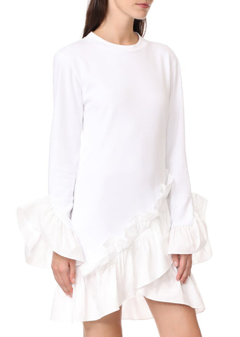Goen.J jersey ruffled dress white