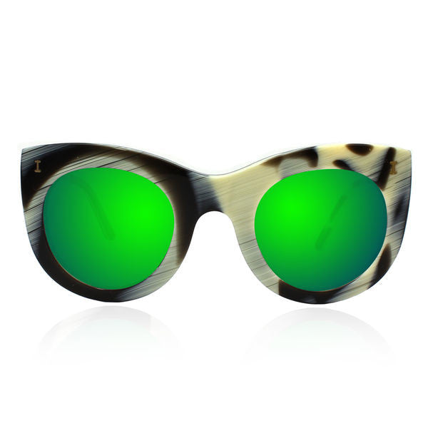 Illesteva boca sunglasses horn with green mirror lens