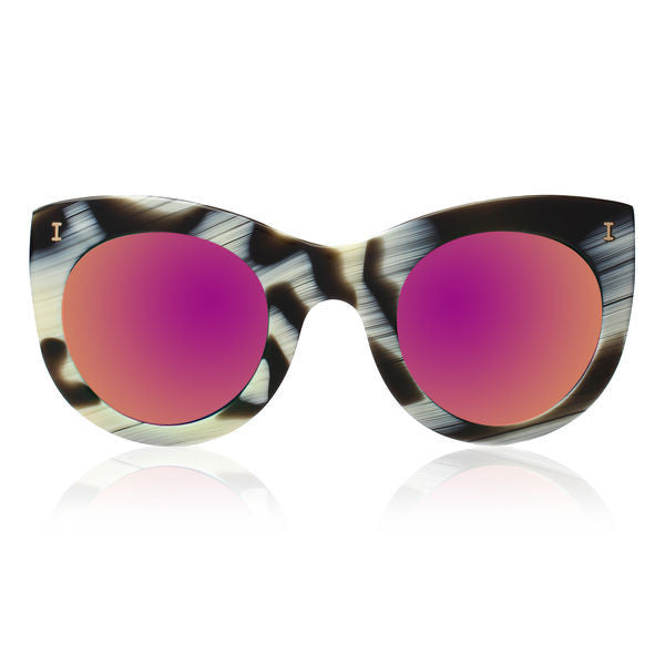 Illesteva boca sunglasses horn with pink mirror lens