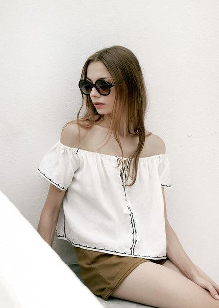 Magali Pascal Anafi linen top in off white
