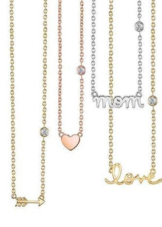 Shy by SE 'MOM' necklace white rhodium