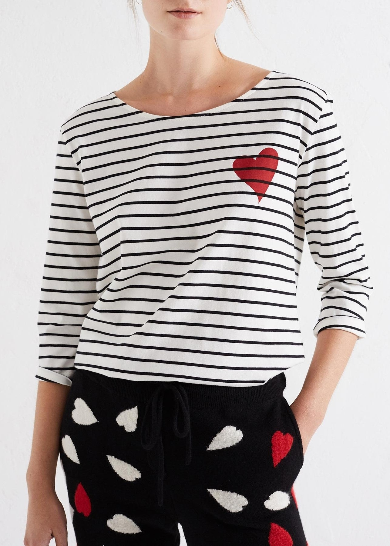 Chinti & Parker heart striped tee ivory