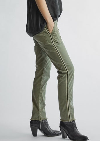 Nili Loan Jenna pant with tape in sage w white black tape