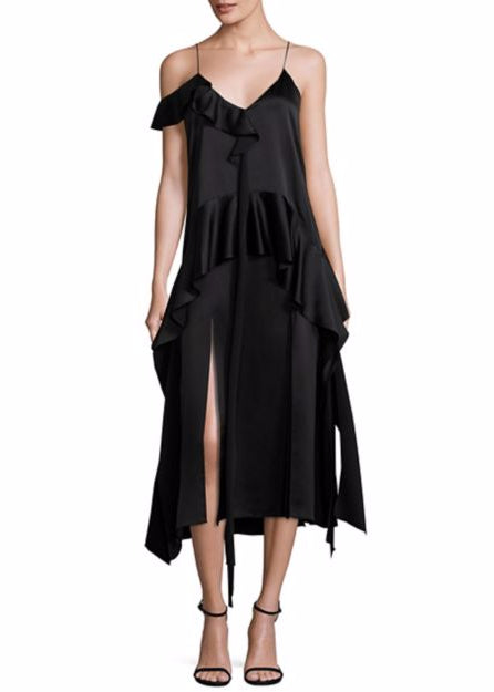 Jonathan Simkhai silk ruffle one shoulder midi dress black