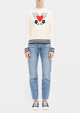 Chinti and Parker Juliet heart sweater in cream