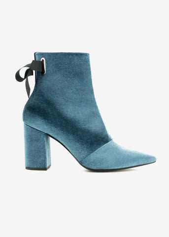Robert Clergerie x Self Portrait karli blue velvet boot