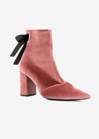 Robert Clergerie x Self Portrait karlit pink velvet boot