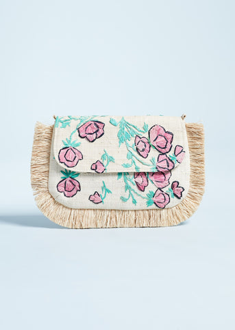 Kayu Amelia floral clutch in natural