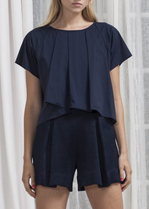 Katharine Kidd michelle ruffle crop top navy