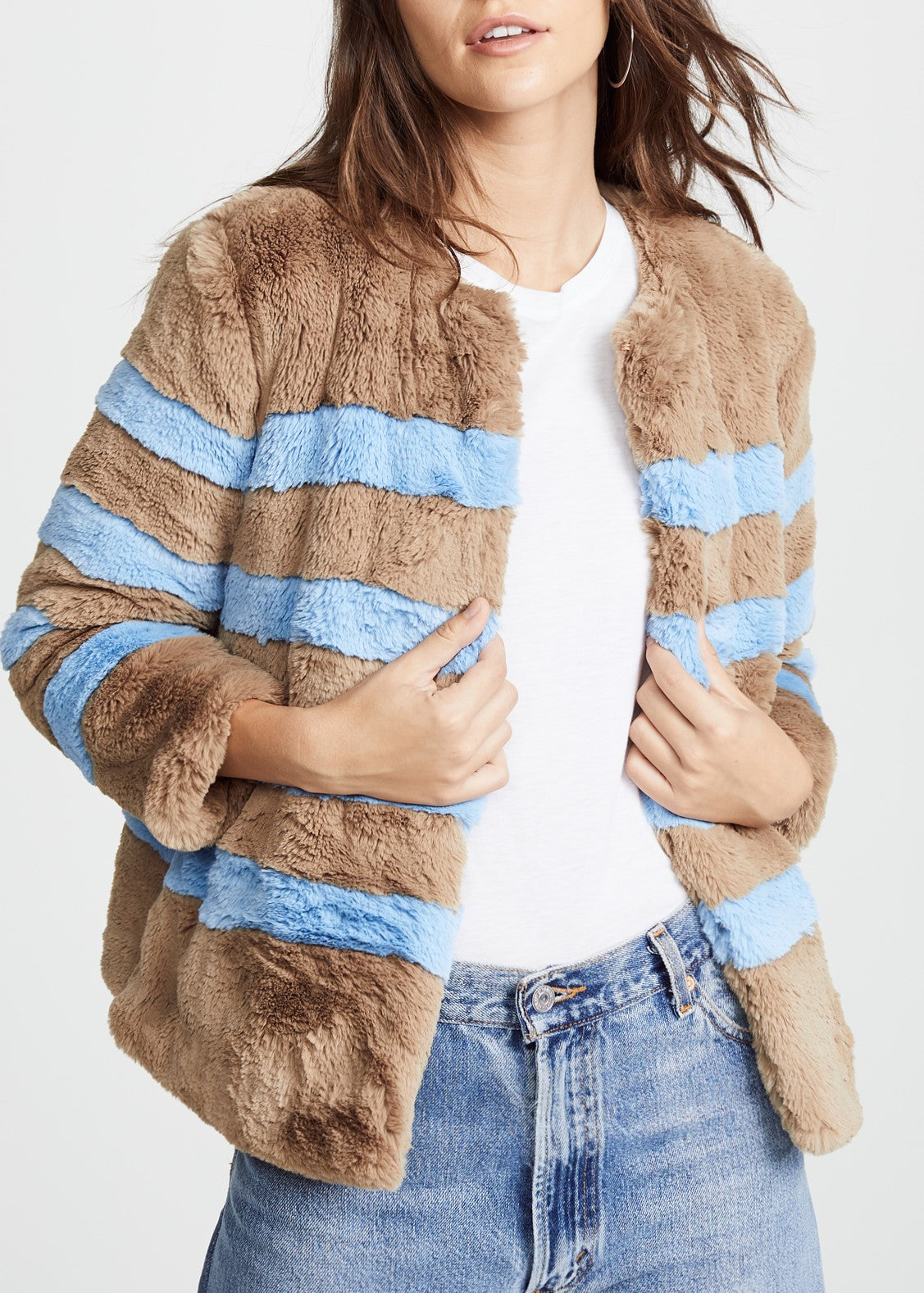 Kule Bailey jacket in camel light blue