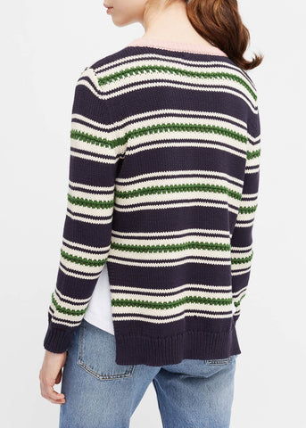Chinti and Parker lace stitch split hem sweater in navy