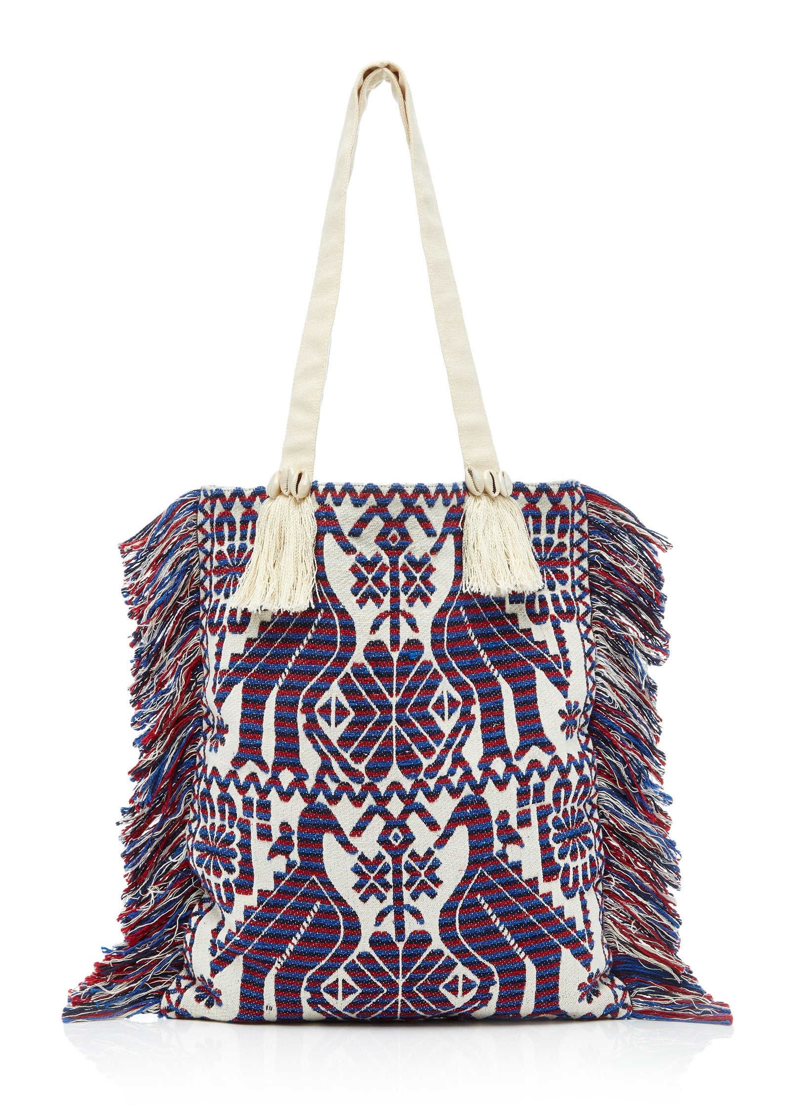 Figue Tikki bird tote in blue multi