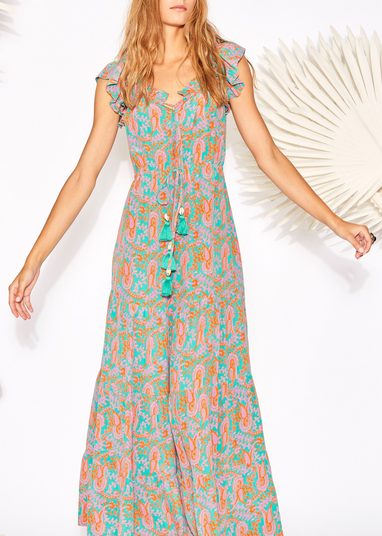 Figue Gianna dress in bahia beach paisley sea green