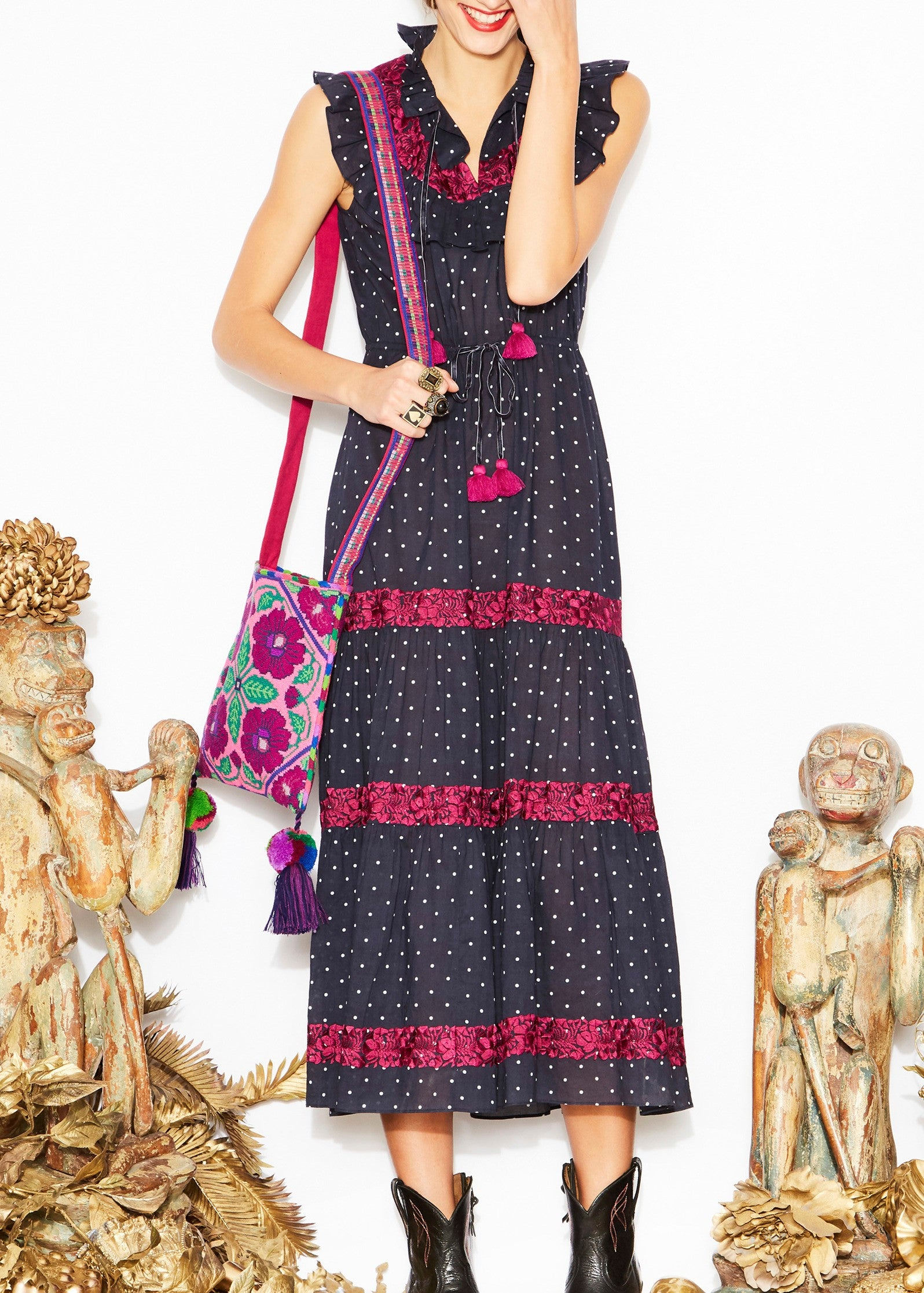 Figue Lila dress in aztec dot midnight navy