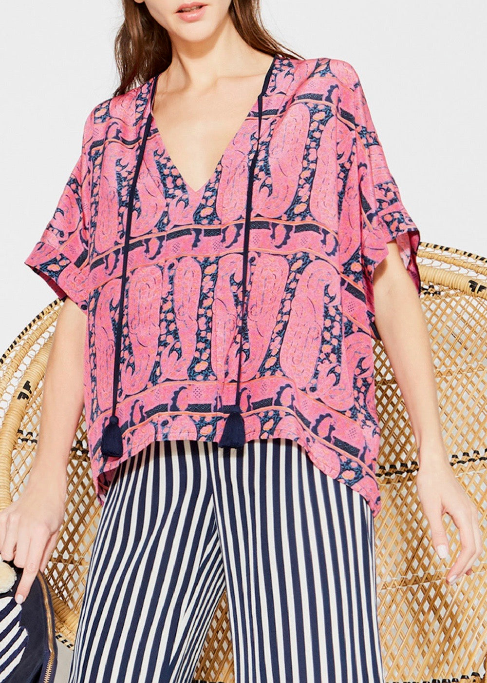 Figue Esmee Top in paisly pink