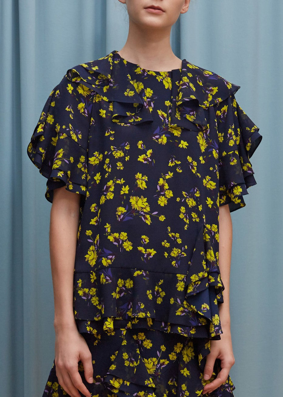 Goen.J floral printed ruffle top in navy