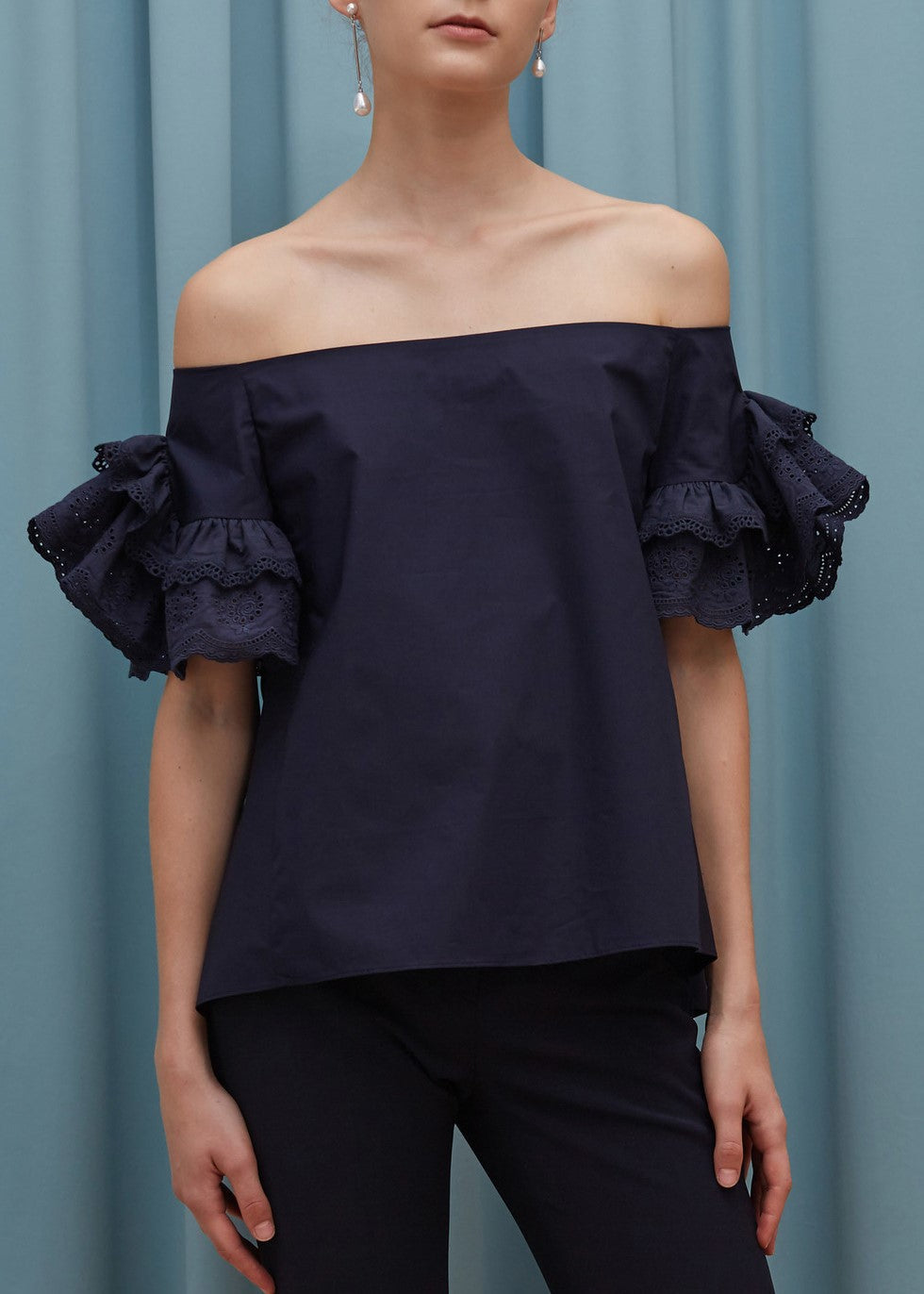 Goen.J off the shoulder lace ruffle trimmed top in navy