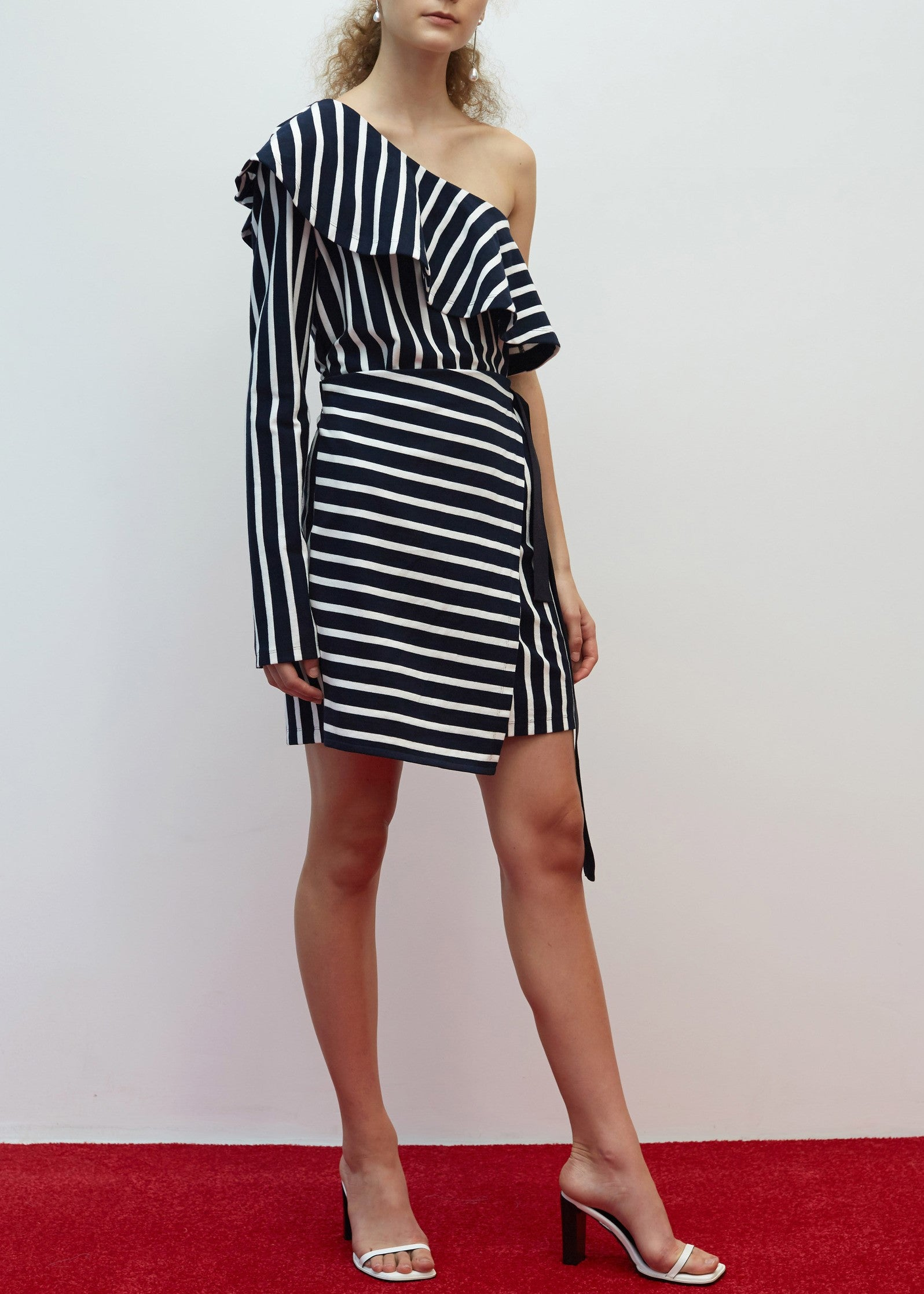 Goen.J ruffled one shoulder striped jersey wrap dress