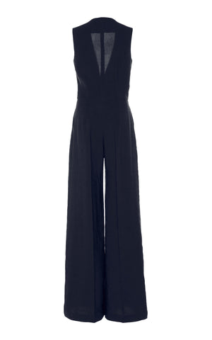 Martin Grant v neck sleeveless jumpsuit in navy