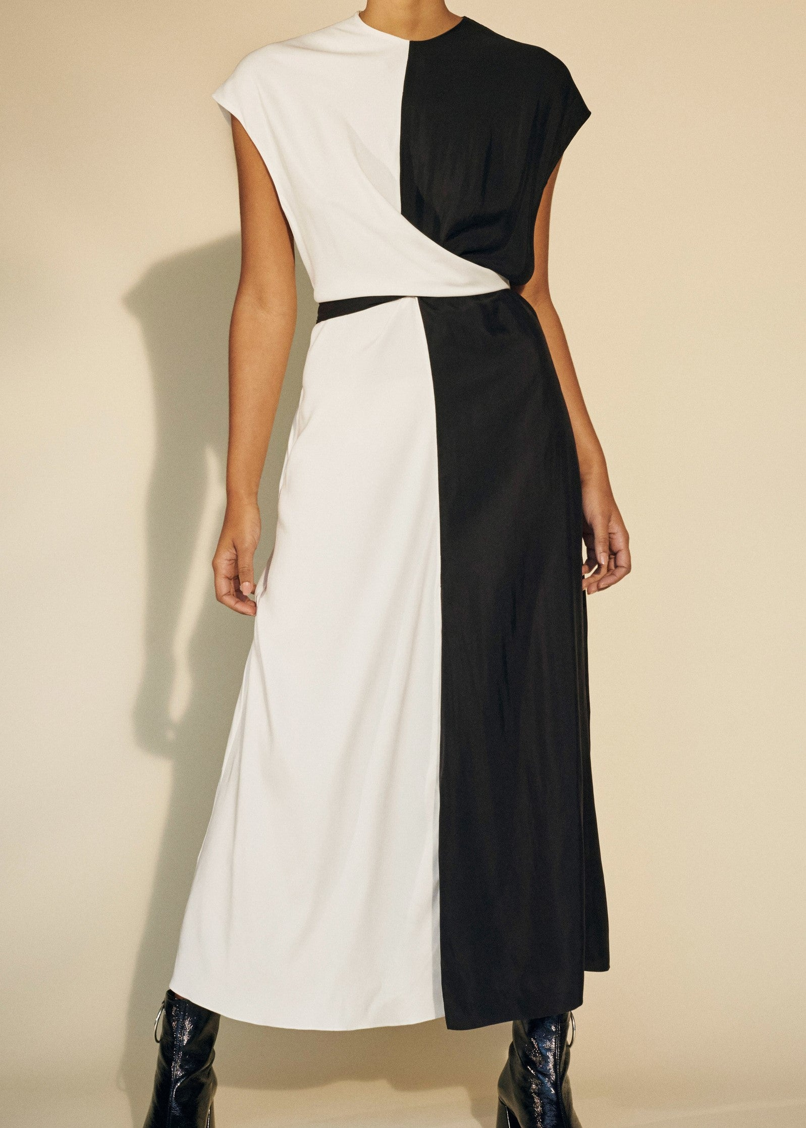 Paper London Tide dress in black and ivory