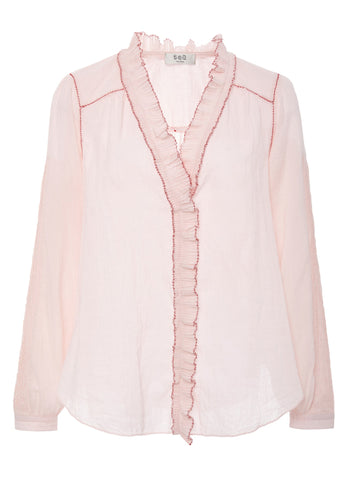 Sea Seraphina long sleeve ruffle blouse in pink