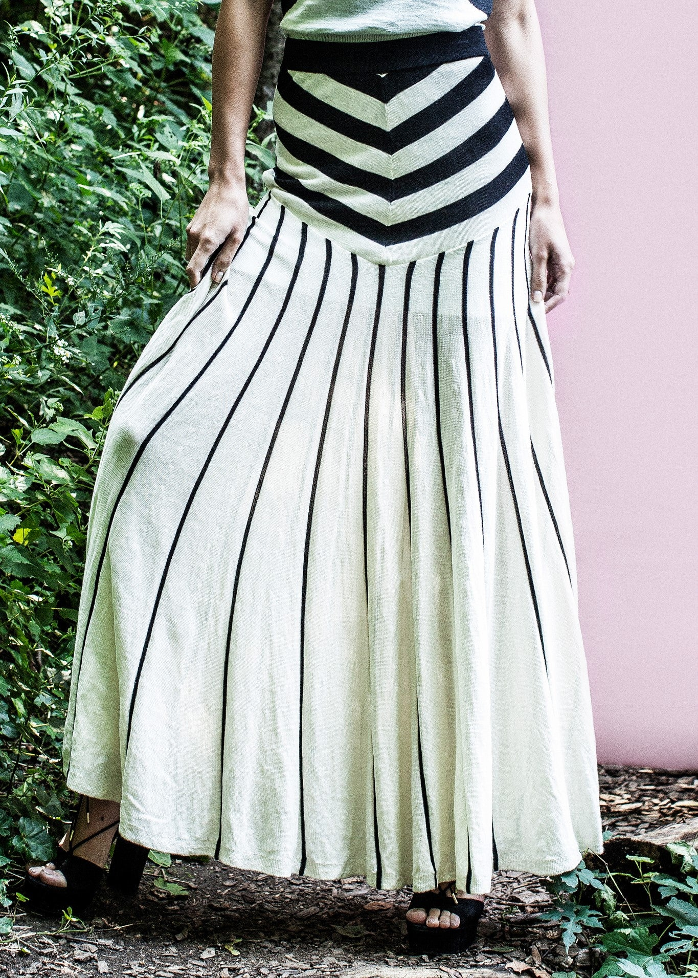 Tabula Rasa malick stripe skirt black white
