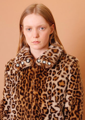 Shrimps Faux fur jacket wth crystal buttons in leopard