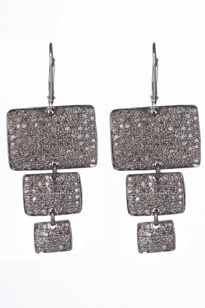 Lera Jewels 3 tier rectangle moon earrings