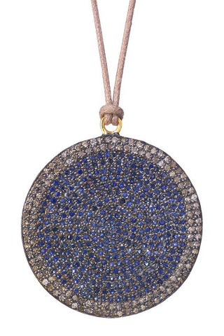 Lera Jewels sapphire & diamond disc on nude cotton code