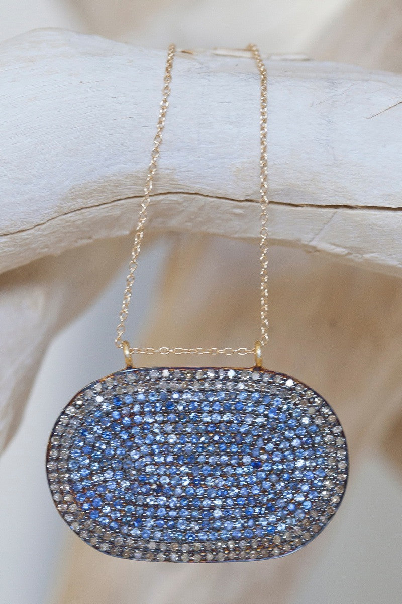 Lera Jewels 25x40mm baby oval sapphire & white diamond on 14k gold chain