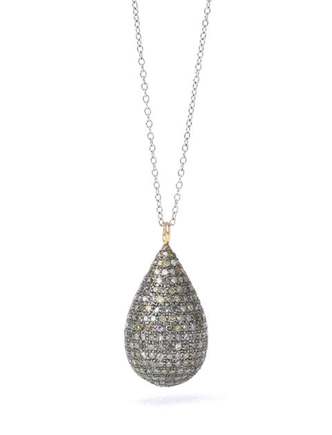 Lera Jewels diamond teardrop on sterling silver with 14K gold stations necklace
