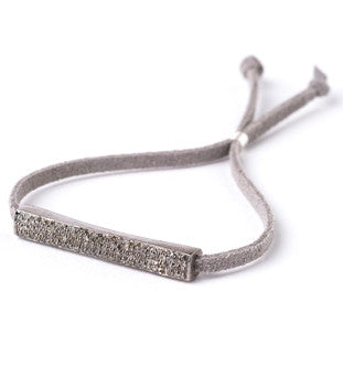 Lera Jewels pave diamond bar on grey suede bracelet with diamond pull