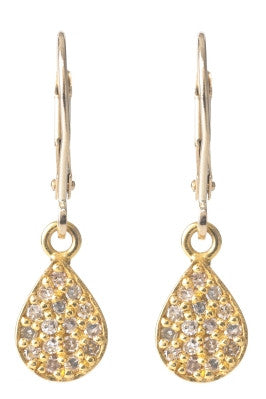 Lera Jewels pave diamond small teardrop yellow gold earrings