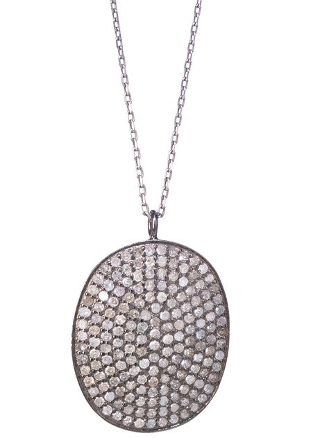 "Lera Jewels pave diamond vertical oval necklace on 16"" silver chain"