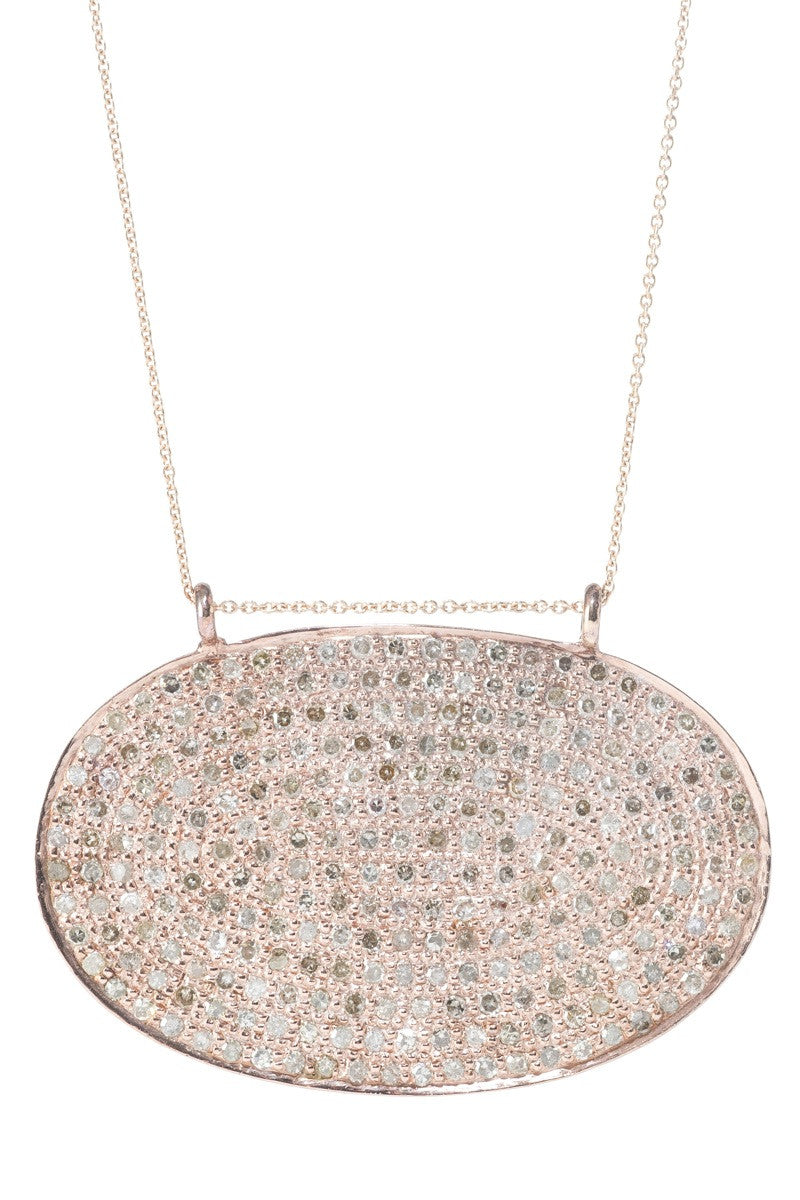 Lera Jewels 25x40mm rose gold classic oval necklace