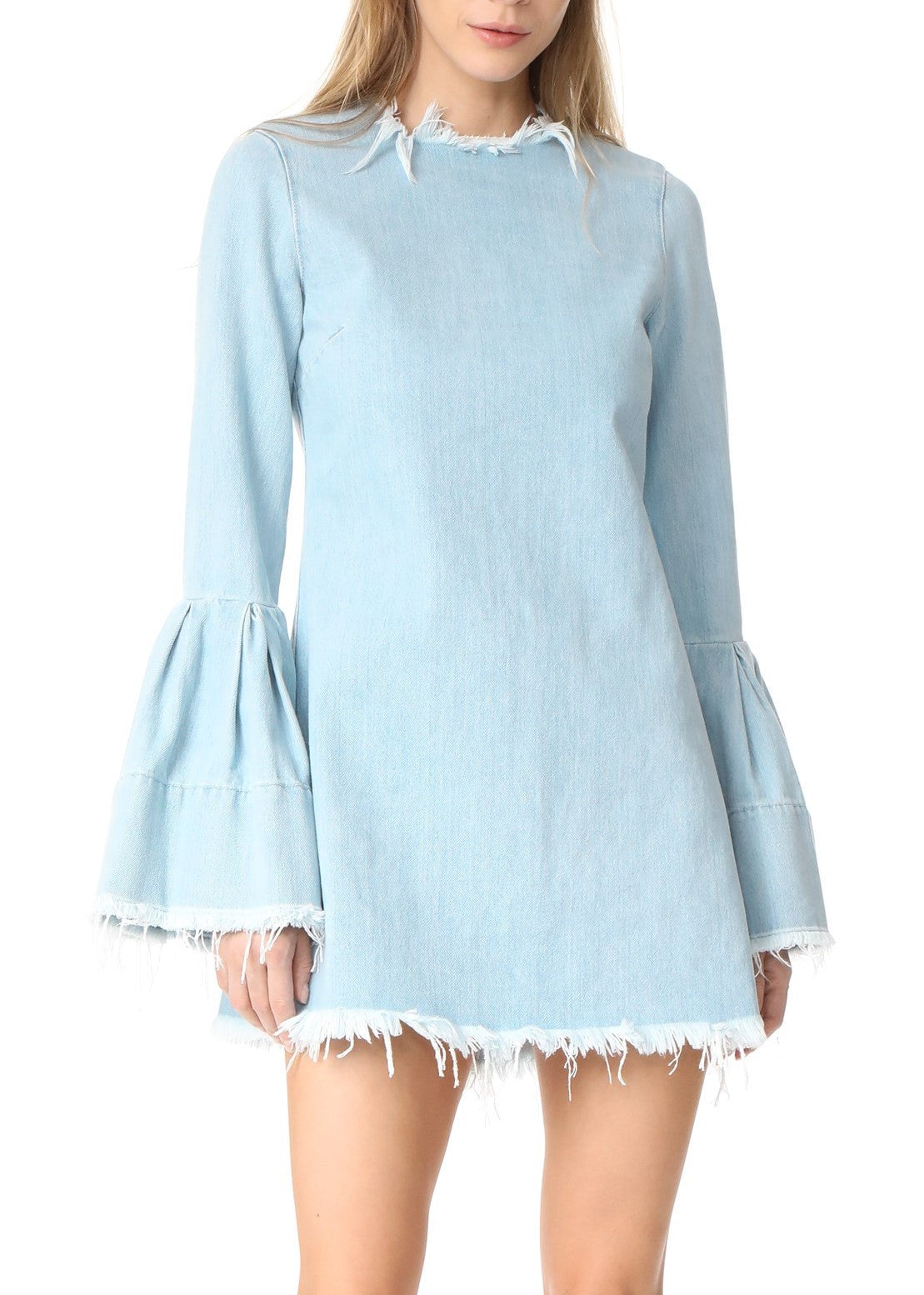 Marques Almeida denim dress with frill cuffs