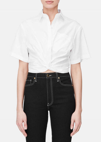 T by Alexander Wang twist front crop shirt white