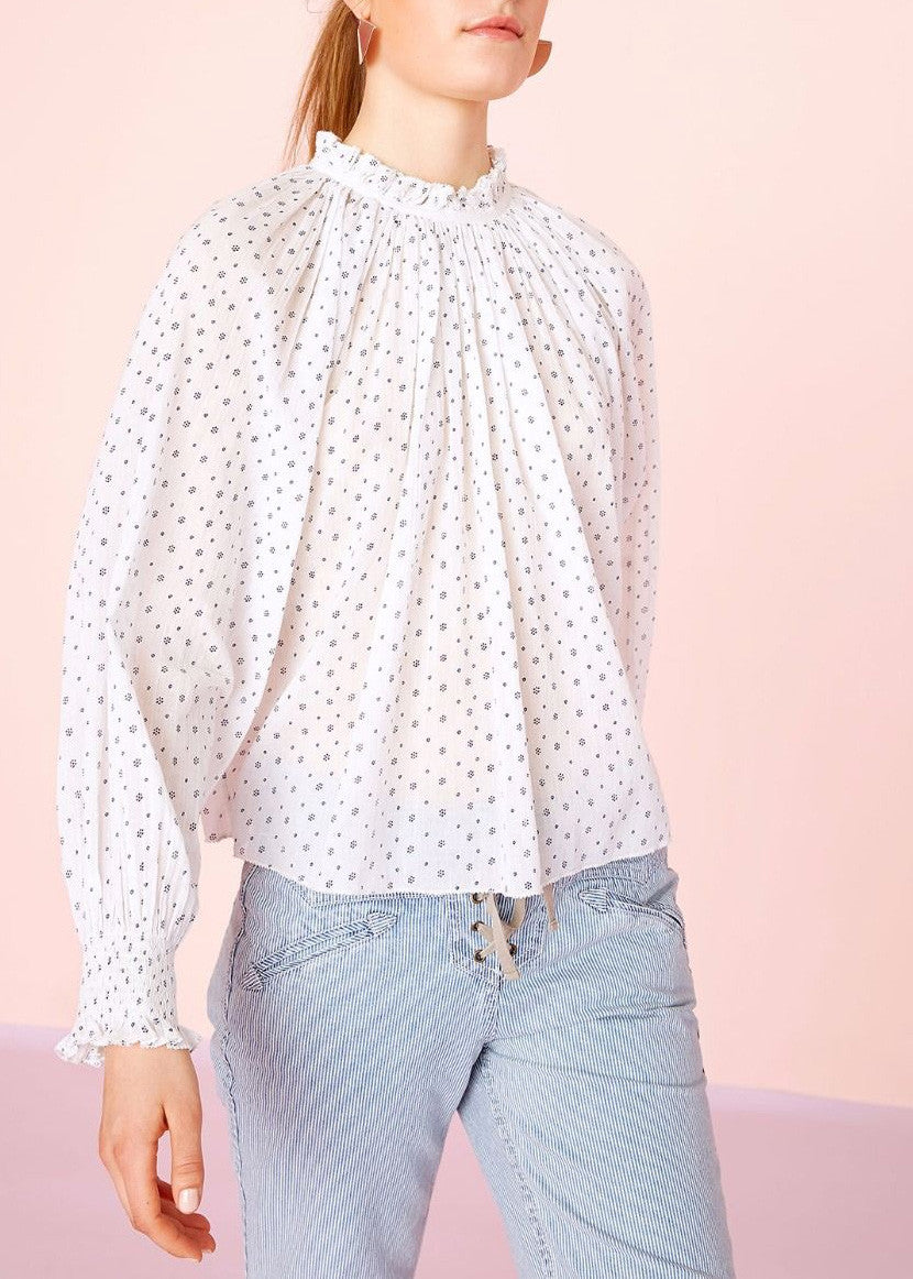 Ulla Johnson mireille dot print blouse porcelain