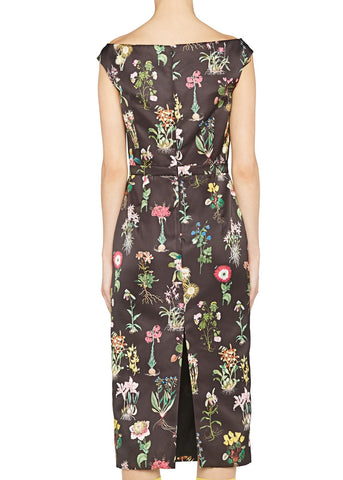 No.21 V Neck Cap Sleeve Fitted Dress in Black Floral Print