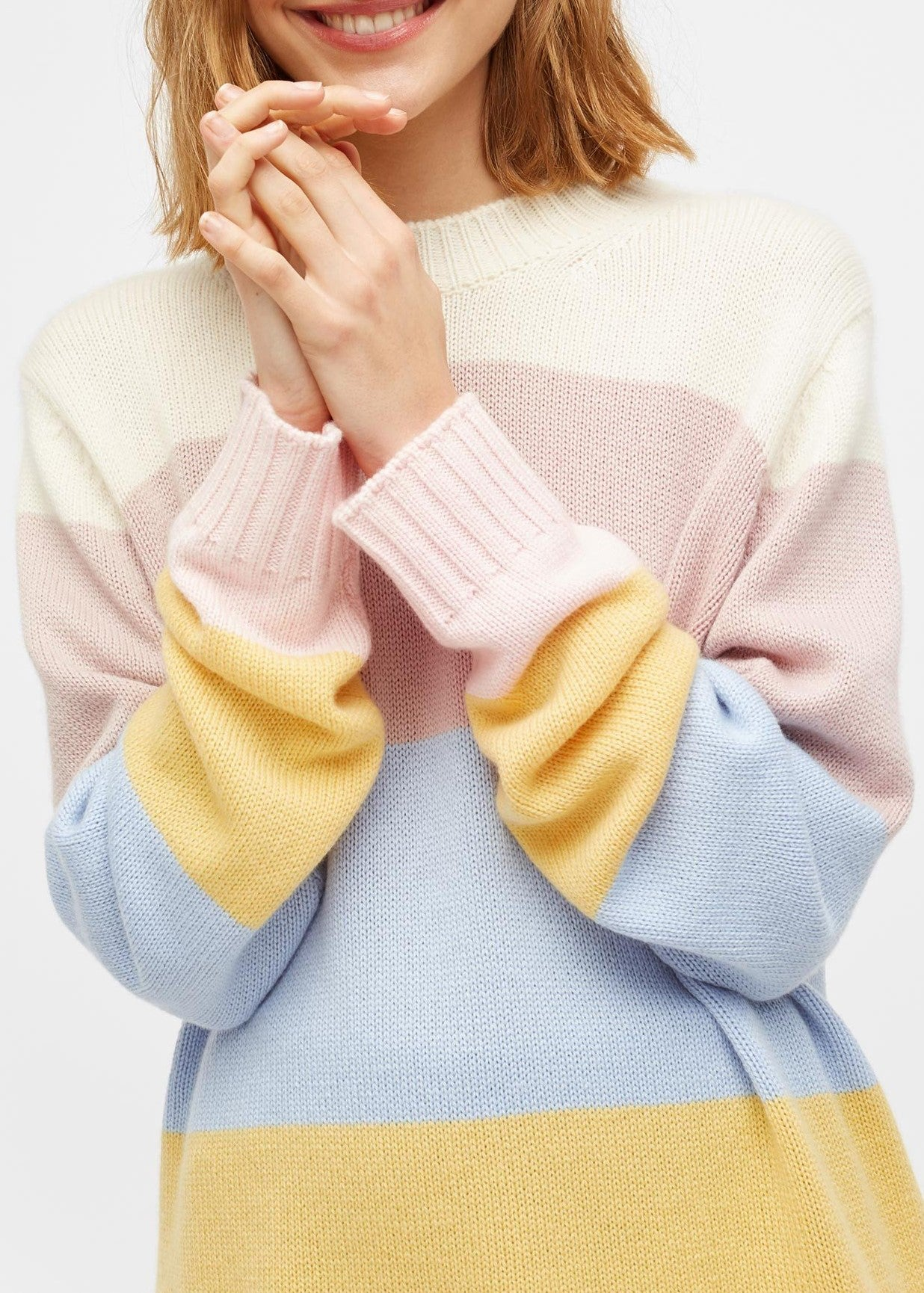 Chinti & Parker oversized stripe sweater in cream multi
