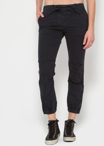 Nili Lotan lace up military pant dark navy