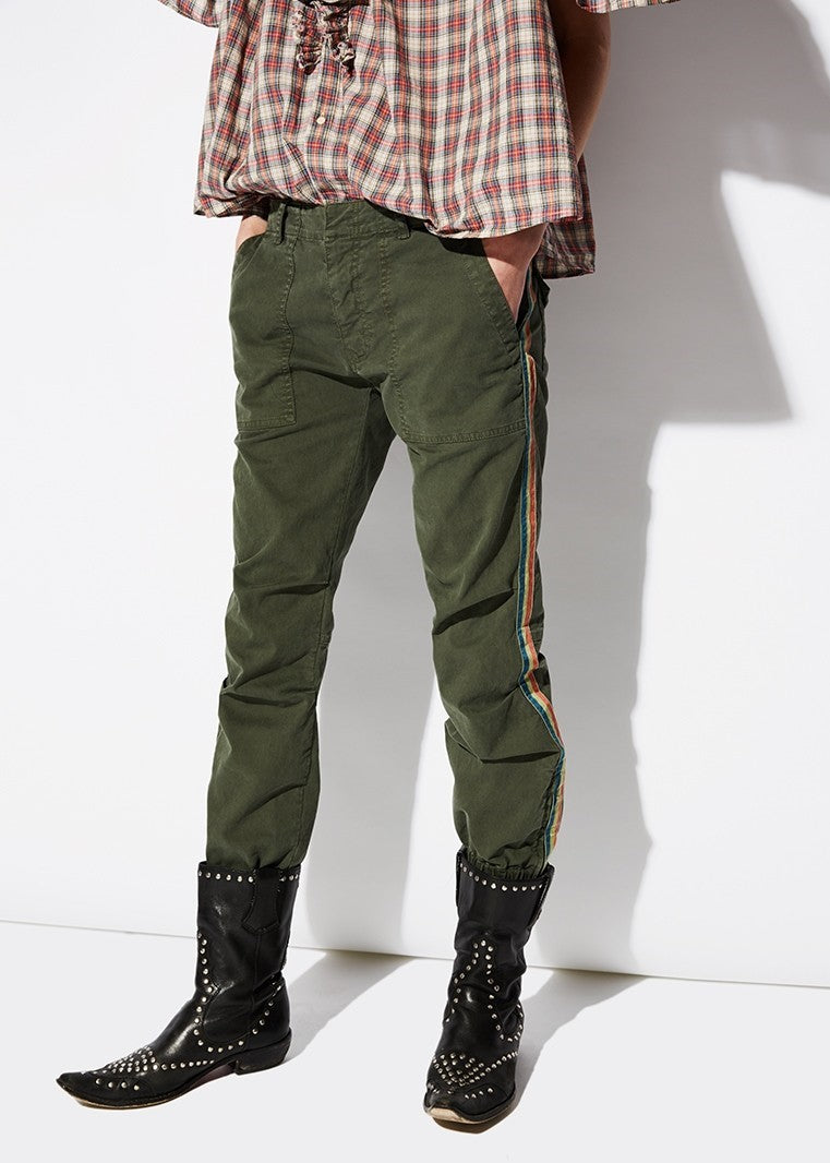 Nili Lotan cropped french military pant with red/blue tape