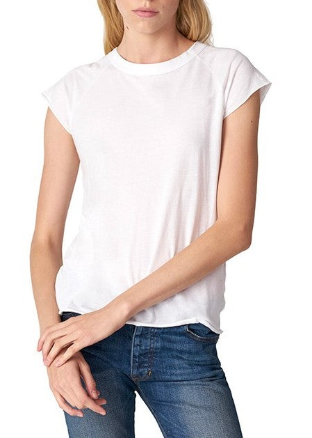 Nili Lotan SHORT SLEEVE BASEBALL tee white